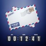 De envelop van de luchtpost met postzegel en tikaftelproceduretijdopnemer Stock Foto's