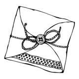 De Envelop van de Scrapbookingsstijl met Band of Lint en Knoop Inkt VectordieIllustratie op een Witte Achtergrond wordt geïsoleer Stock Afbeelding