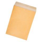 de envelop van het pakpapierdocument die op wit wordt geïsoleerd Stock Afbeelding
