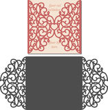De envelopmalplaatje van de laserbesnoeiing voor de kaart van het uitnodigingshuwelijk Stock Foto