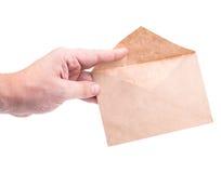 de enveloppen van de handholding met brieven Royalty-vrije Stock Foto's