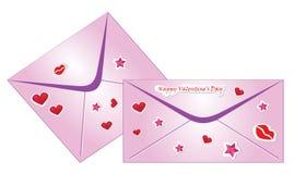 De enveloppen van de valentijnskaart Stock Afbeelding