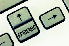 De Epidemie van de handschrifttekst Concept die Wijdverspreid voorkomen van een infectieziekte in een gemeenschap betekenen stock afbeeldingen