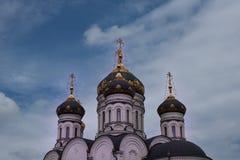 De Epiphany-Kathedraal Gorlovka de Oekraïne Koepels op de blauwe hemelachtergrond Royalty-vrije Stock Afbeelding