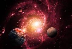 De ernst van een massief zwart gat vertraagt de planeten Eind van de wereld royalty-vrije illustratie