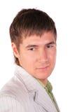 De ernstige close-up van het jonge mensengezicht Royalty-vrije Stock Fotografie