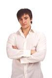 De ernstige kerel in een wit geïsoleerdk overhemd Stock Fotografie
