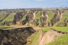 De erosie van de grond in de Oekraïne Stock Afbeeldingen