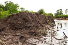 De erosie van de grondverschuivingengrond Stock Foto's