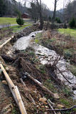 De Erosie van de stroom na Onweer Royalty-vrije Stock Afbeeldingen