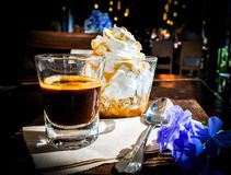 De espresso bedriegt panna Stock Foto