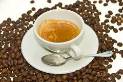 De Espresso van de koffie met de boon van de Koffie. Royalty-vrije Stock Foto's
