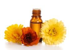 De essentiële olie van Aromatherapy met goudsbloem stock afbeeldingen