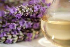 De essentieolie van de lavendel stock afbeeldingen
