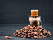De etherische olie van de kruidkruidnagel royalty-vrije stock afbeeldingen