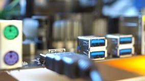 De Ethernet-haven op motherboard stock footage