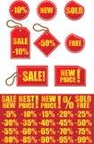 De etiketten en de stickers van de supermarkt stock illustratie