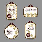 De etiketten ontwerpen Gele Bloemen Stock Foto
