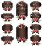 De etiketten van de de uitnodigingsbloem van de Browluxe en lege etiketten Royalty-vrije Stock Afbeeldingen