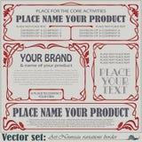 De etiketten van de grensstijl op verschillende onderwerpen Stock Afbeelding