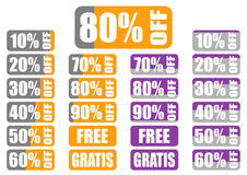 De etiketten van de percentagekorting met indicator Stock Foto's