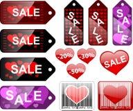 De etiketten van de verkoop, st. Valentijnskaarten Stock Foto