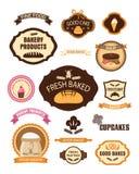 De etiketten van het bakkerijgebakje, kentekens, linten, kaarten en ontwerpelementen Stock Foto