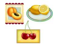 De etiketten van het fruit Stock Foto