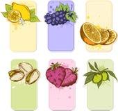 De etiketten van het fruit Stock Afbeeldingen