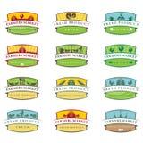 de etiketten van het illustratielandbouwbedrijf Vector Stock Foto