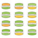 de etiketten van het illustratielandbouwbedrijf Vector Stock Fotografie