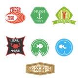 de etiketten van het zeevruchtenrestaurant Stock Foto