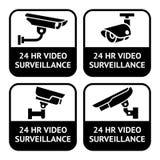 De etiketten van kabeltelevisie, vastgesteld de camerapictogram van de symboolveiligheid Stock Fotografie