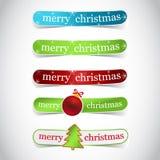 De etiketten van Kerstmis met boom, Kerstmisbal Stock Foto