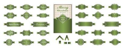 De etiketten vectorontwerp van de luxe zacht groen premie Stock Fotografie