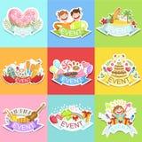 De Etikettenreeks van het gebeurtenismalplaatje Leuke Stickers Stock Foto's