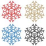 25 de etiqueta engomada del descuento Copo de nieve 25 de la venta Imagen de archivo