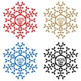 40 de etiqueta engomada del descuento Copo de nieve 40 de la venta Fotografía de archivo
