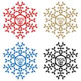 90 de etiqueta engomada del descuento Copo de nieve 90 de la venta Fotografía de archivo libre de regalías