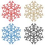 45 de etiqueta engomada del descuento Copo de nieve 45 de la venta Imagen de archivo libre de regalías