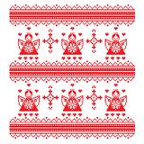 De etnische engel van het dwars-steekornament en decoratieve ornamenten in rode witte Vectorillustratie Stock Fotografie