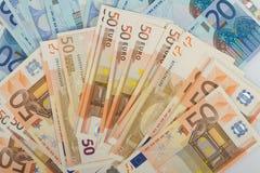 De EU-bankbiljetten in 50 en 20 euro rekeningen Stock Afbeelding