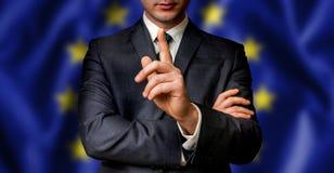 De EU-de kandidaat spreekt aan de mensenmenigte Stock Foto's