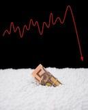 De EU-document muntgootsteen in polystyreendeeltje en een schommeling grafisch op achter monetair concept royalty-vrije stock afbeeldingen