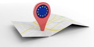 De EU-kaartwijzer op witte achtergrond 3D Illustratie Stock Fotografie