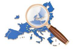 De EU onder vergrootglas, analyseconcept, het 3D teruggeven Stock Foto's