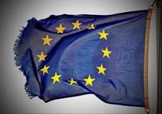 De EU-vlag die in de wind drijven Stock Afbeelding
