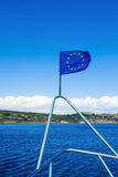 De EU-vlag op het schip Royalty-vrije Stock Foto