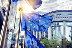 De EU-vlaggen die voor het Europees Parlement de bouw in Brus golven Stock Foto