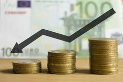 De euro achter het plan is winst en de groei stock afbeeldingen